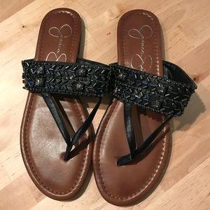 Jessica Simpson Black Beaded Sandals | size 9